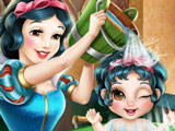 Snow White Bathes Baby