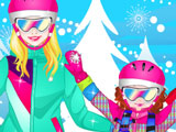 Игра Одевалка: Семья на Лыжах