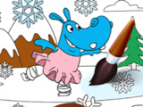 Зимние Раскраски с Бегемотиками