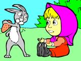 Маша и Зайчишка - Раскраска